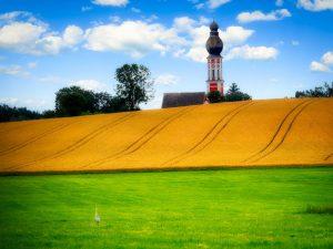 Hill Church Tower Cornfield Church  - fietzfotos / Pixabay